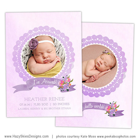 Birth Announcement Template | Purple Watercolor
