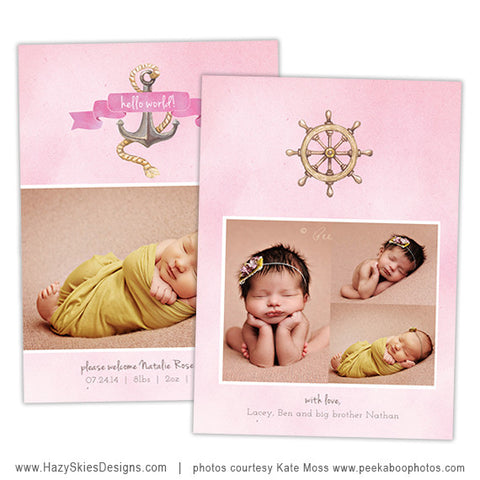 Birth Announcement Template | Pink Nautical Girl