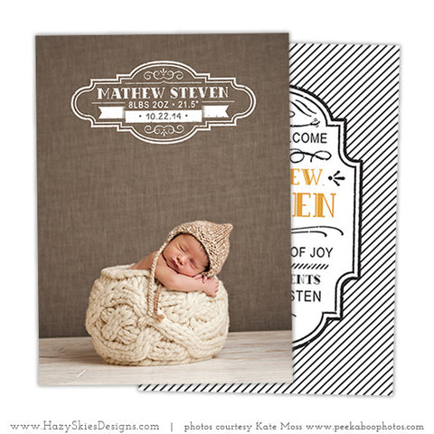 Birth Announcement Template | Pin Stripes