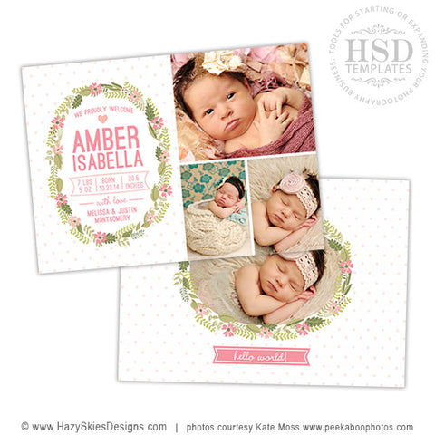 Birth Announcement Template | Floral Wreath