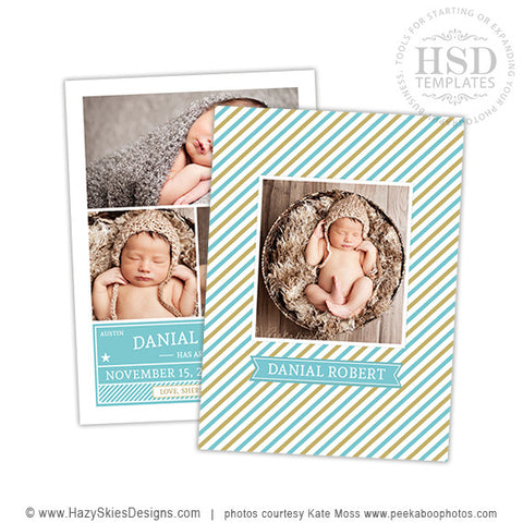 Birth Announcement Template | Striped Tag