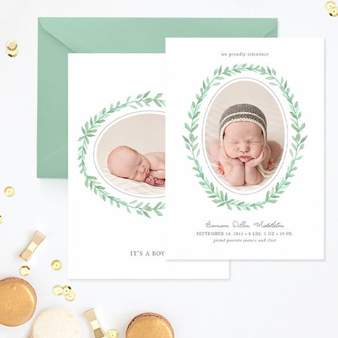 Birth Announcement Template Boy | Painted Wreath