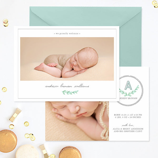 Birth Announcement Template | Initial