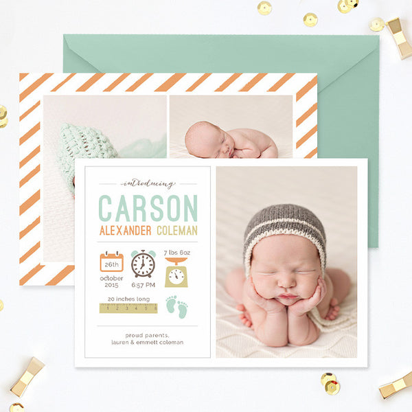 Birth Announcement Template Girl Photoshop Template  Photoshop