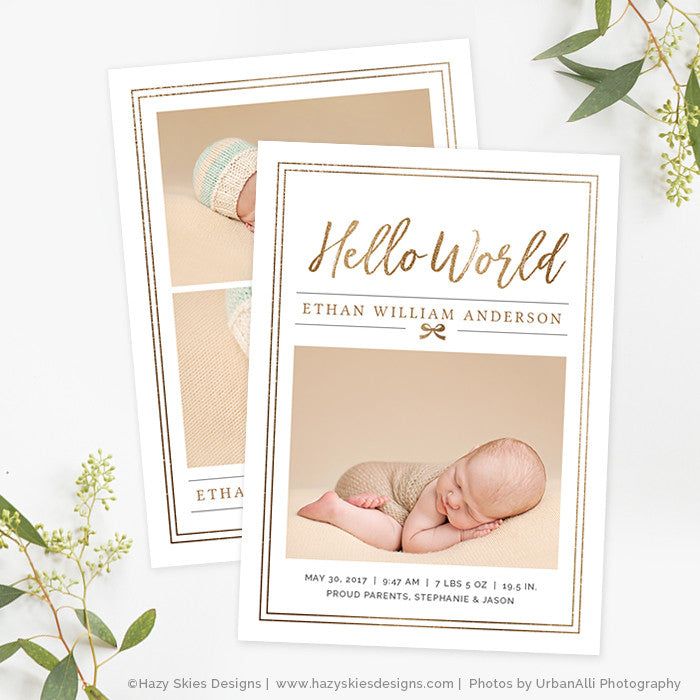 Boy Birth Announcement Template Photoshop Printable Photo Card