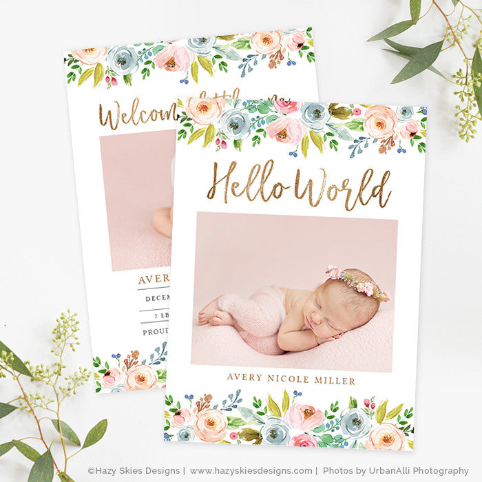 Baby Announcement Template | Girl Birth Announcement Template Photoshop Printable Photo Card