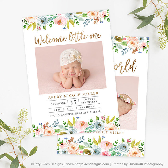 Girl Birth Announcement Template Photoshop Printable Photo Card