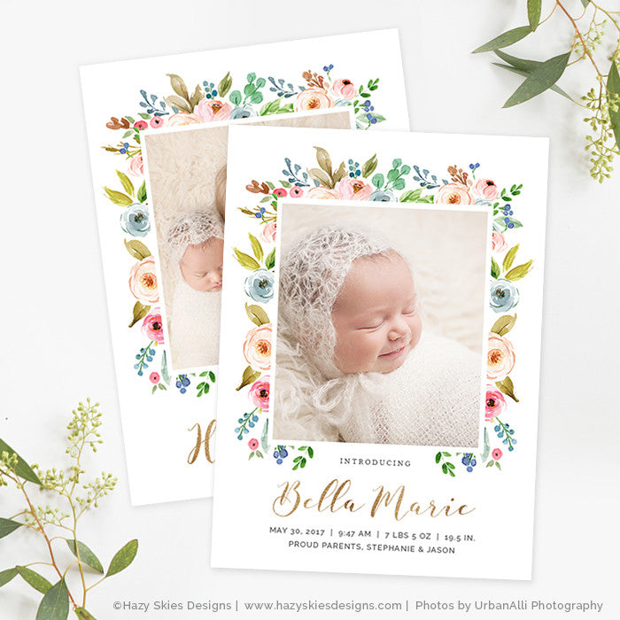 Girl Birth Announcement Template Photoshop Newborn Announcement – Birth Announcement Photoshop Template
