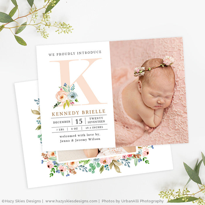 Girl Birth Announcement Template Photoshop Newborn Photo Card – Birth Announcement Photoshop Template