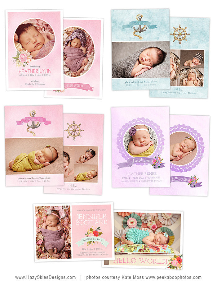 Birth Announcement Template For Photographers Photo Card Template
