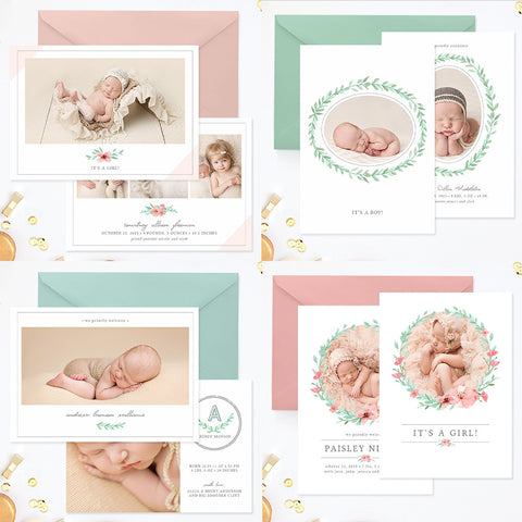 Birth Announcement Templates Photoshop | Delicate