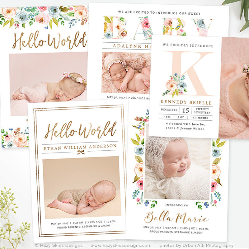 Birth Announcement Template Photoshop Printable Photo Card Girl – Baby Boy Birth Announcements Templates