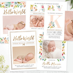 Birth Announcement Template | Organic Bloom Bundle