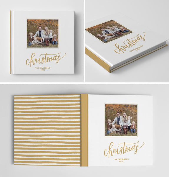 Holiday Book Album Cover Template | Gold Stripes