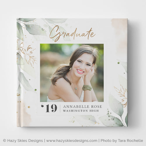 Senior Album Cover Template | Botanical & Blush