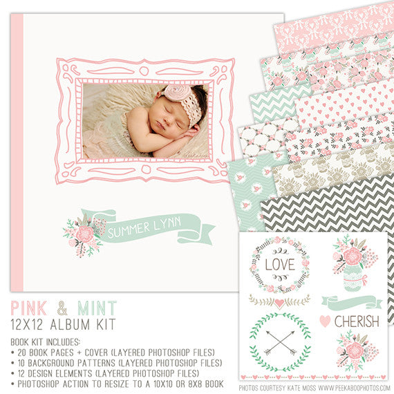 Photo Book Template for Girls | Pink & Mint