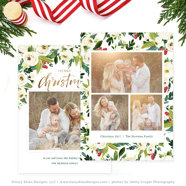 Holiday Christmas Card Template | White Roses
