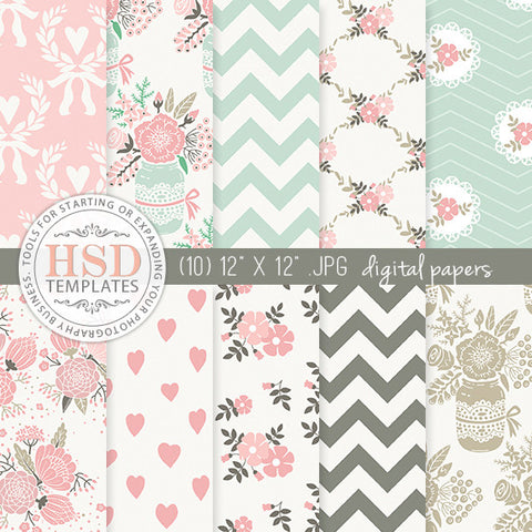 Digital Paper Pack | Mint