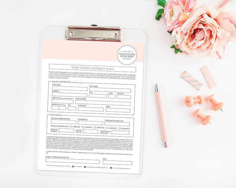 Photography Payment Plan Form Template Photography Forms Contracts