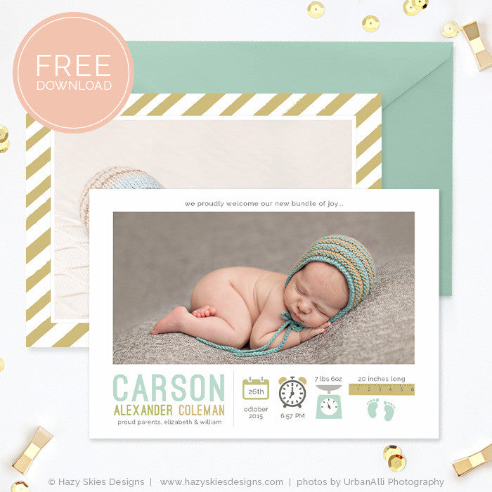 Modern birth announcement template ~ card templates ~ creative market.