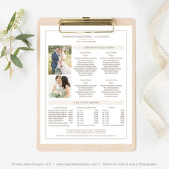 Wedding Print & Product Pricing Template | Organic