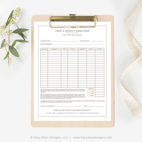 Photography Order Form Template | Organic