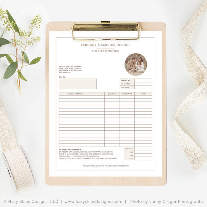 photography invoice photoshop template organic