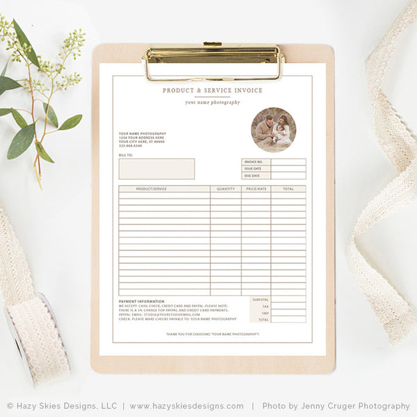Photography Invoice Template Photoshop Photography Receipt Template