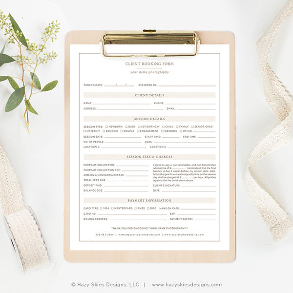 Photography Client Booking Form | Organic