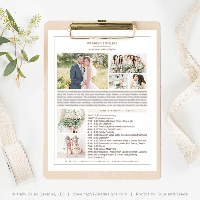 Photography Wedding Timeline Template, Wedding Timeline Printable