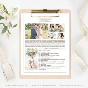 Photography Wedding Timeline Template | Organic