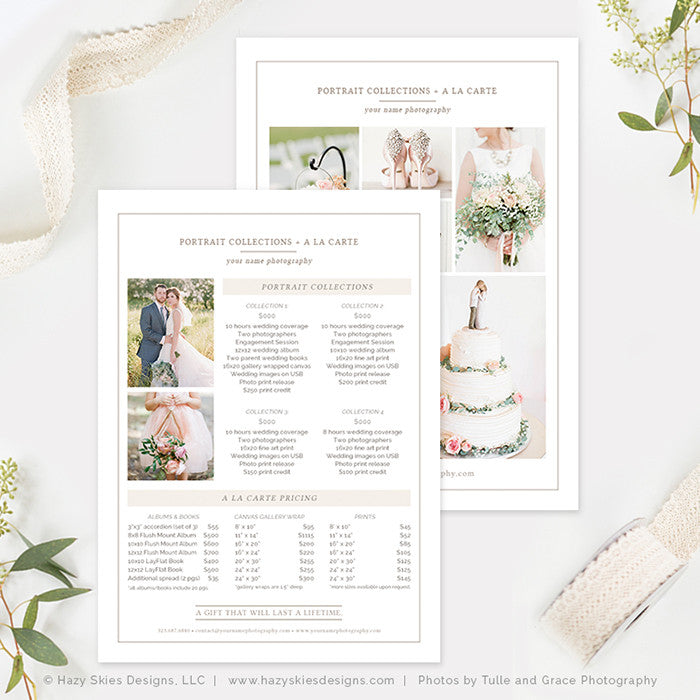 5x7 Wedding Photography Price List Template | Organic ...