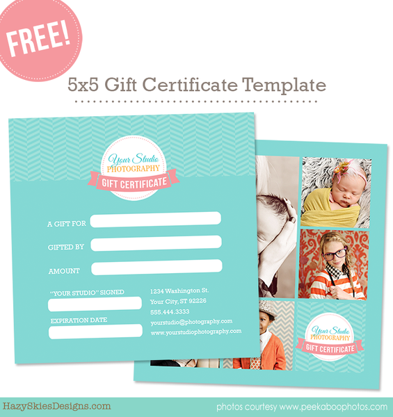 Free Gift Card Template For Photographers Photoshop Template Digital