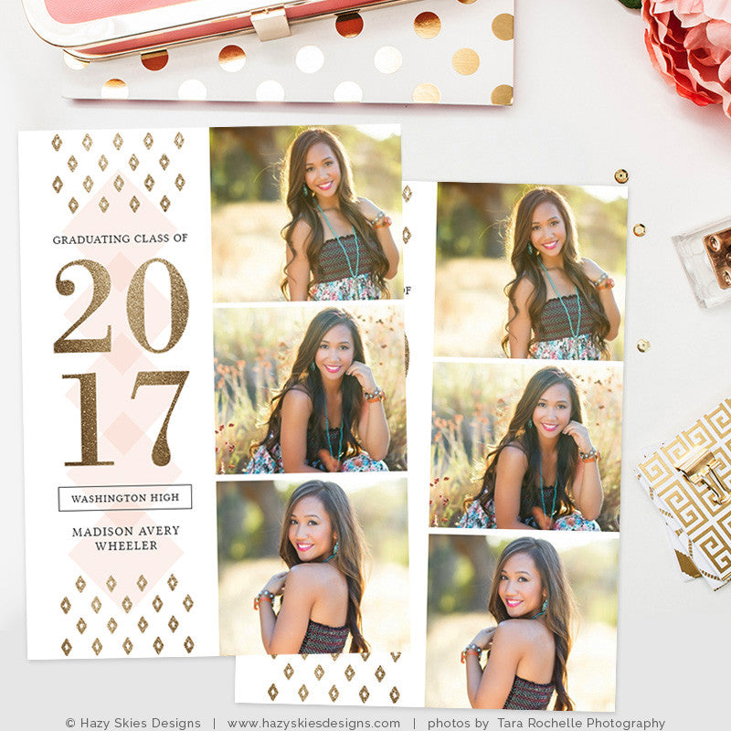 gold senior graduation announcement template photoshop templates