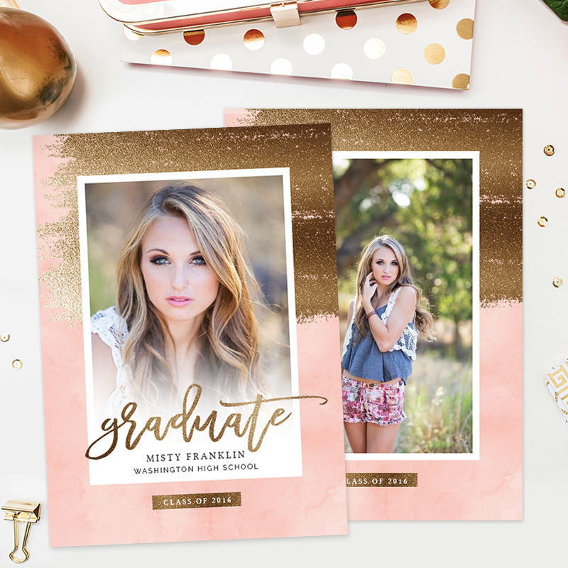 Senior Graduation Announcement Template Gold Pink – Photoshop