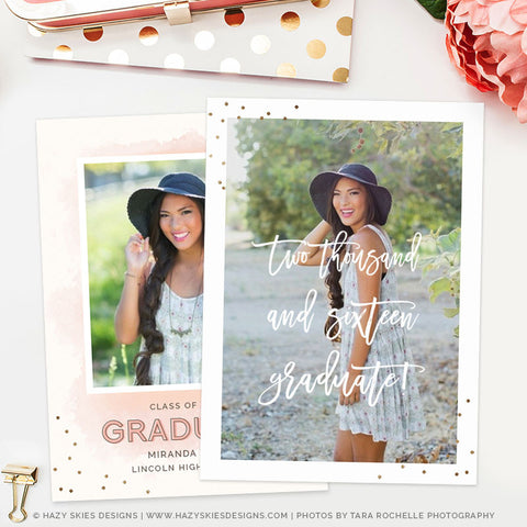 Senior Graduation Announcement Template | Watercolor Grad