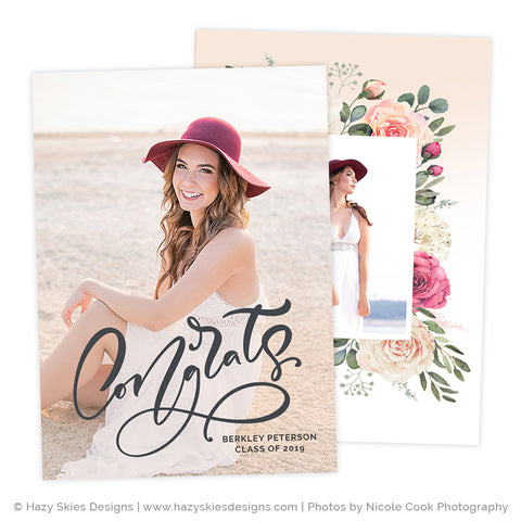 Senior Announcement Templates | Pink Ombre Collection