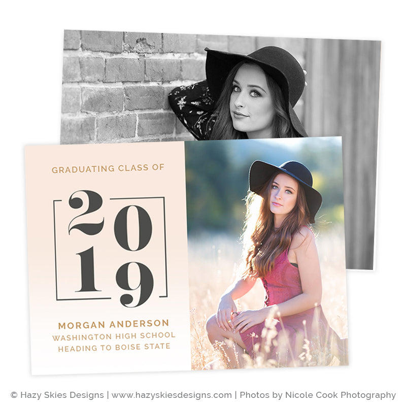Senior Announcement Template Digital | Pink Ombre