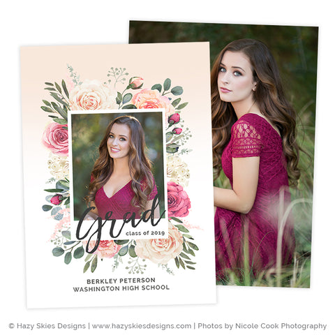 Senior Announcement Template Digital | Floral Frame
