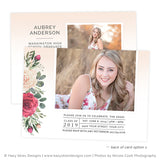 Senior Announcement Template Digital | Vintage Rose