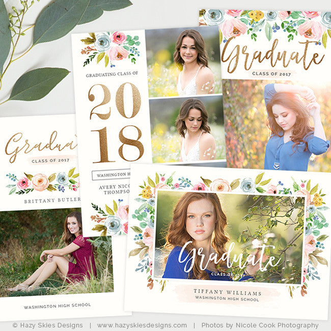 Senior Graduation Announcement Templates Photography Photoshop ...