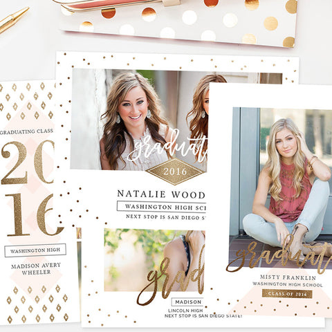 Senior Graduation Announcement Templates | Golden Grad Collection