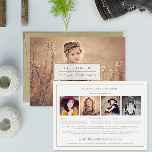 Photography Studio Gift Certificate Templates, Gift Card Templates