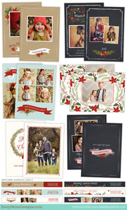 Christmas Card Template for Photographers | Holly Jolly Christmas