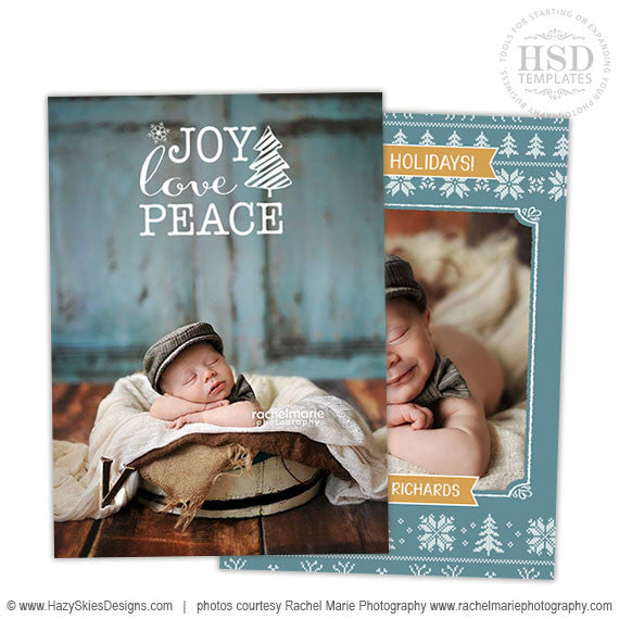 Holiday Card Template  | Joy Love Peace