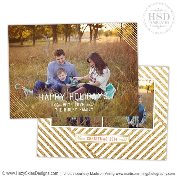 Christmas Card Template for Photoshop | Glitter Stripes