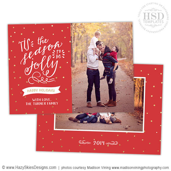 Holiday Card Template for Photoshop | Hand Drawn