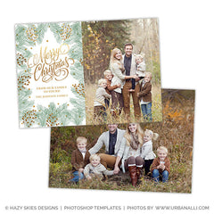 Christmas Card Photoshop Template | Pine