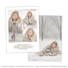 Christmas Card Photoshop Template | Gold Diamond
