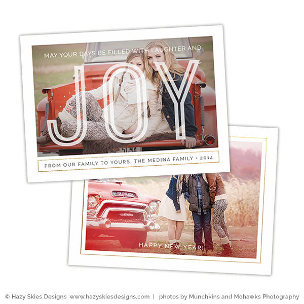 Holiday Card Photoshop Template | Laughter & Joy
